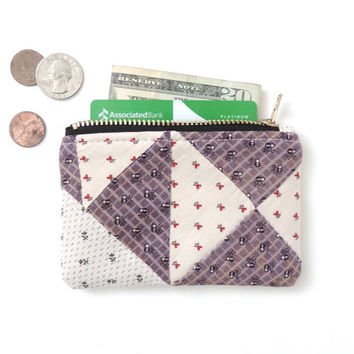 Recycled Wallet Coin Purse Zipper Pouch Quilt