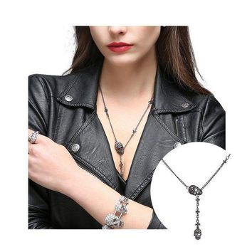 ONETOW EVBEA Skull Necklace for Women Long Gothic Jewelry Cool Cross Rock Necklaces