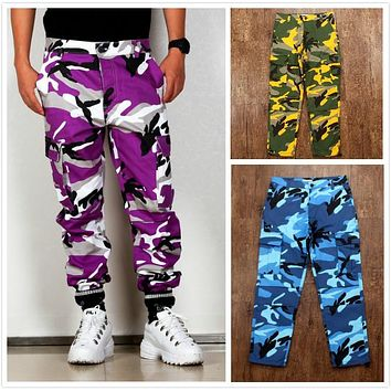 8 Color Camo BDU Camouflage Cargo Pants 2017 Men Women Streetwear Joggers Couple Clothes Orange Green Sweatpants Hip Hop Pants