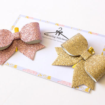 pink glitter bow - gold glitter bow - gold hair bow - gold glitter hair - pink glitter hair clip - large gold hair bow - adult hairclip