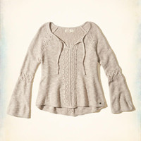 Girls Bell-Sleeve Tie-Front Sweater | Girls Tops | HollisterCo.com