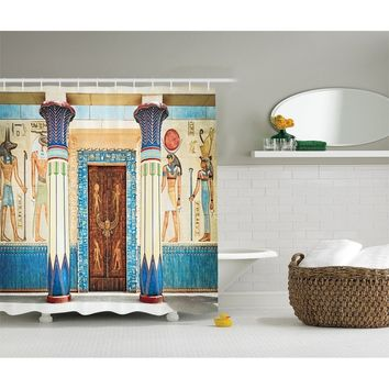 Egyptian Decor Collection, Ancient Egyptian Writing on Stone Ancient Egypt Indigenous Civilization Picture, Polyester Fabric Bat