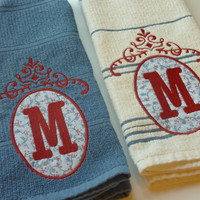 Monogrammed Kitchen Towels - Applique Oval Scroll