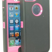 BeautyChase(TM) Iphone5/5S Defender Body Armor Case Comparable to Otterbox Defender Series (charcoal grey/hot pink)
