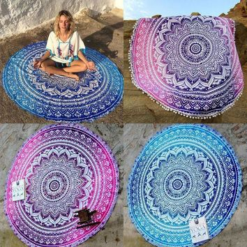 PEAP9GW 2016 New Retro Floral Hippie Boho Summer Beach Throw Towel Yoga Mat Decorative Wall Hanging Indian Mandala Tapestries Home Decor