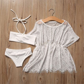 2017 New Children clothing Swimwear girls split two Pieces swimsuit with cover up lace hollow white Bathing suit Beachwear