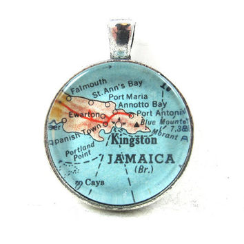 Vintage Map Pendant of Jamaica, in Glass Tile Circle