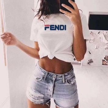 """Fendi x Fila"" Unisex Casual Simple Little Devil Letter Print Couple Short Sleeve T-shirt Top Tee"