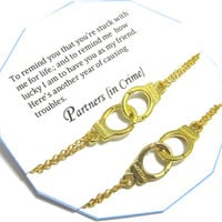 Matching Set of 2 Partners in crime hand cuff bracelet/Best Friend Gift-Gift For Friend/REMINDER Gold plated Double Chain