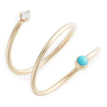 Zoë Chicco Turquoise & Diamond Wrap Ring | Nordstrom