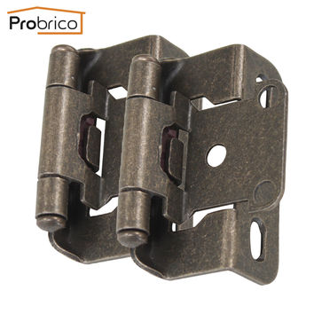 Probrico 4 Pair Self Close Kitchen Cabinet Hinge Antique Bronze Ch196Ab Partial Wrap 1/2-Inch Overlay Furniture Cupboard Hinge