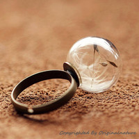 Nature Inspired Jewelry Real Dandelion Rings Gift (HM0040)