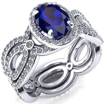 Polaris Oval Lab-Created Blue Sapphire 4 Claw Prongs Diamond Halo Full Eternity Accent Ring