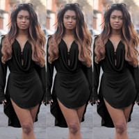 Sexy Women Long Sleeve Party Evening Cocktail Club Casual Mini Short Dress Black