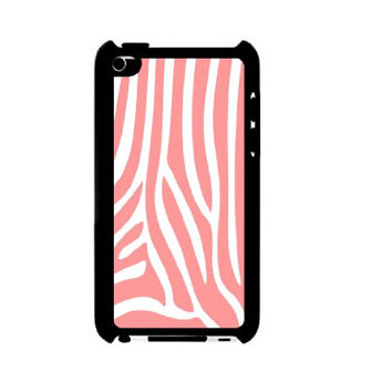 Coral Zebra Stripes iPod Touch 4 Case - For iPod Touch 4 4G - Designer Plastic Snap on Case