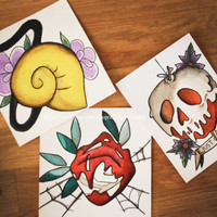 ON SALE -  Set of Three Disney Villain Prints - Tattoo Flash - Disney Art - Ursula - Queen of Hearts - Evil Queen - Set - Just one Bite