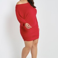 Dolman Sleeve Ruched Dress Plus Size