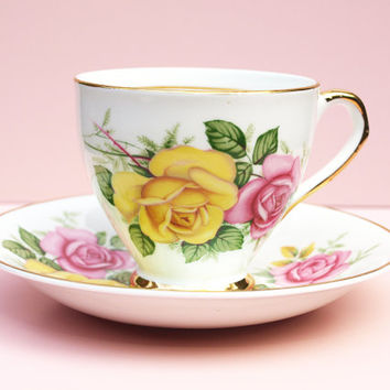 Teacup and Saucer, Tea Cup Set, Lubern China, 22 KT Gold China, Bone China, Pink Roses, Yellow Flowers, Vintage KItchen, Bridal - 1960s