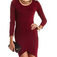 Long Sleeve Bodycon Tulip Dress by Charlotte Russe - Wine