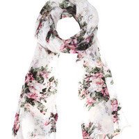 Floral pattern lace neck scarf -
