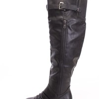 Black Thigh High Flat Boots Faux Leather