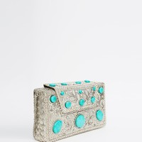 From St Xavier Clutch Bag in Silver with Turquoise Stones
