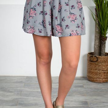 Grey Floral Pleated Shorts