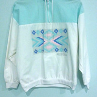 Light Weight Vintage Zip Up Pullover Jacket Arizona Navajo Aztec Print Hipster Colors Pastel Light Blue and Pink and White Tag says Large