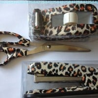 Leopard Print Desk Set - Scissors Tape Dispenser and Stapler