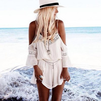 Lace Trim Off Shoulder Strap Romper