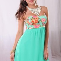 Mint Green Strapless Asymmetric Dress with Floral Print Top