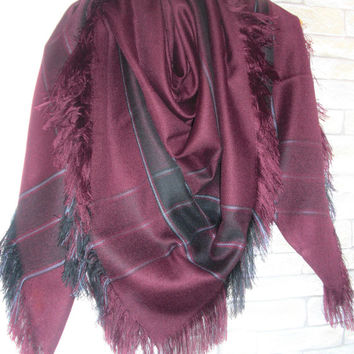 Burgundy Blanket Scarf , Women Scarf , Plaid Scarf , Plaid Blanket Scarf , Valentine's Gift Scarf Women fashion  Winter Accessories