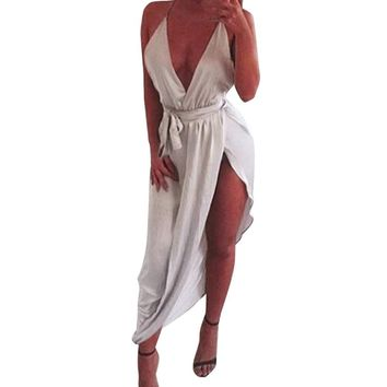 Sexy Deep V Neck Ladies Maxi Dress