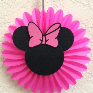 Minnie Mouse Birthday   Baby Shower Party Decorations 5 Mini Tissue Fans