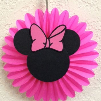 Minnie Mouse Birthday - Baby shower Party Decorations 5 Mini Tissue Fans