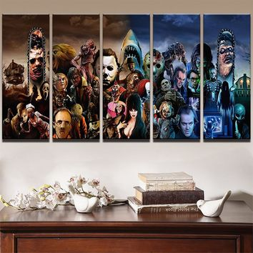 Fast US Ship - Horror Movie Characters Stars Wall Art Canvas 5 Panel