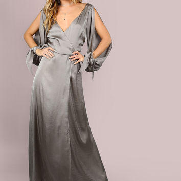 Grey Wrap Over Slit Sleeve Satin Maxi Dress
