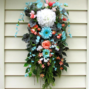 french country wreath, hydrangea swag, swag wreath, floral swags, summer door wreaths, door swag, wreaths for spring, country cottage