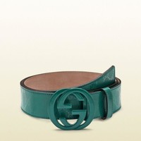 Gotopfashion 100% AUTH NEW MEN GUCCI GREEN IMPRIMEE INTERLOCKING LOGO BELT US 44/110