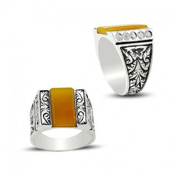 Amber gemstone with cubic zirconia silver mens ring