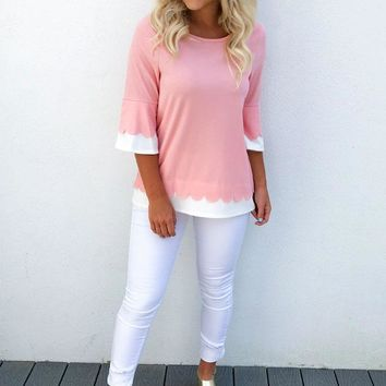 Slip Into Love Top: Pink/White