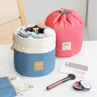 New Arrival Barrel Shaped Travel Cosmetic Bag Nylon High Capacity Storage