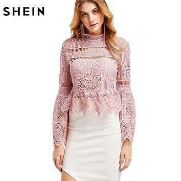 SHEIN Casual Long Sleeve Tops for Women Long Sleeve Shirts Women Fashion Pink Lace Flare Sleeve Peplum Zipper Back Blouse
