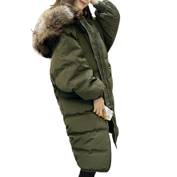70% White Duck Down Long Winter Jacket Women Down Jacket For Pregnant Women European Style Fashion Outwear Coat Hooded GQ2033