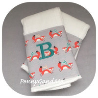 Cloth Diaper Burp Cloths ~ Woodland Burp Cloths ~ Fox Burp Cloths ~ Baby Girl Burp Cloths ~ Baby Boy Burp Cloths ~ Burp Clothes ~ Burp Rags