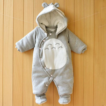 Clothes Newborn Baby Cotton One-piece Thick Hooded Baby  Warm In Autumn and Winter Clothes Romper Animal Style Totoro Penguin