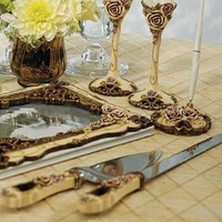 Elegant Vintage Rose Wedding Cake Serving Set