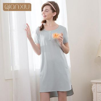 Qianxiu Nightdress For Women Pijamas sets Simple Classic Summer Solid Comfortable For Women Sets