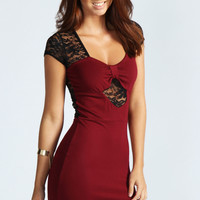 Tabatha Sweetheart Neck Lace Insert Bodycon Dress