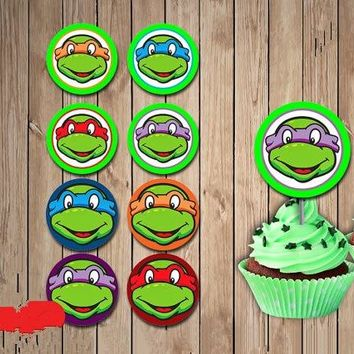 Teenage Mutant Ninja Turtles Party Sticker Birthday Party Decorations Cupcake Toppers Kids Sticker Label for Birthday Candy Box